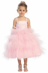 Spaghetti Tea-Length Beaded Tulle&Satin Flower Girl Dress