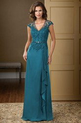 Cap-Sleeved V-Neck Long Gown With Ruffles And Crystals
