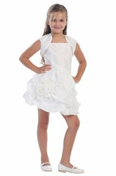 Short Floral Bolero Floral Lace&Taffeta Flower Girl Dress With Pick Up