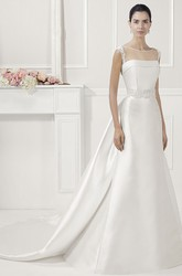 Jewel Neck Lace Sash Satin Bridal Gown With Back Keyholes And Bows