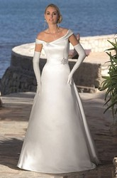 A-Line Off-The-Shoulder Satin Wedding Dress With Broach