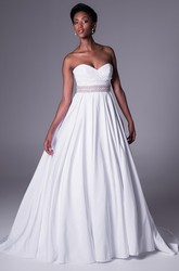 A-Line Jeweled Sweetheart Maxi Chiffon Wedding Dress With Criss Cross And V Back