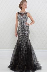 Trumpet Beaded Floor-Length Sleeveless Bateau-Neck Tulle Prom Dress With Lace