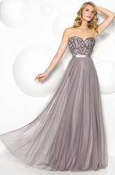 A-Line Sweetheart Sleeveless Floor-Length Beaded Tulle Prom Dress With Pleats