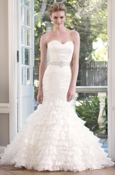 Mermaid Sweetheart Jeweled Organza Wedding Dress With Tiers And Ruching
