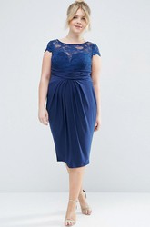 Tea-Length T-Shirt Sleeve Bateau Neck Appliqued Chiffon Bridesmaid Dress