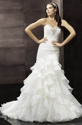 Mermaid Sweetheart Beaded Organza Wedding Dress With Ruching And Tiers