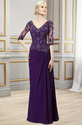 Floor-Length V-Neck Half Sleeve Appliqued Chiffon Formal Dress With Draping