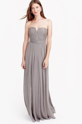 Sheath Sleeveless Ruched Floor-Length Notched Chiffon Bridesmaid Dress With Pleats