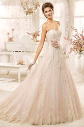 Sweetheart A-line Lace Long Dress with Flower Sash and Appliques