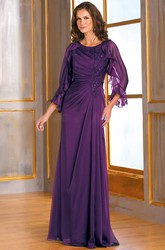 3-4 Sleeved Long Mother Of The Bride Dress With Ruffles And Beadings