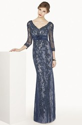 Sheath 3-4-Sleeve Floor-Length Appliqued V-Neck Lace Prom Dress With Beading And Flower