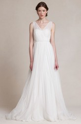 A-Line Jeweled V-Neck Long Sleeveless Tulle Wedding Dress With Pleats