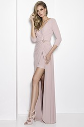 Sheath Jeweled V-Neck 3-4-Sleeve Long Chiffon Prom Dress With Broach