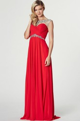 Sheath Bateau Neck Criss-Cross Sleeveless Chiffon Prom Dress