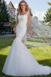 Mermaid Sleeveless Square Appliqued Floor-Length Lace&Tulle Wedding Dress With Illusion Back And Chapel Train