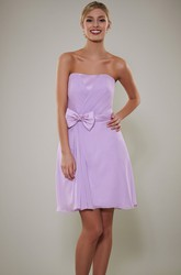 Short Bowed Strapless Chiffon Bridesmaid Dress With Criss Cross