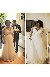 A Line Bateau Lace Zipper Wedding Gown