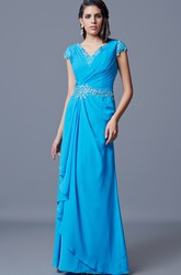 Elegant Side-draped Beaded Chiffon Mother of the Bride Dress