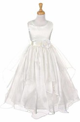 Ankle-Length Tiered Organza&Satin Flower Girl Dress