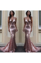 Sleeveless Sweep Brush Train Mermaid Trumpet Spaghetti Sequins Dress