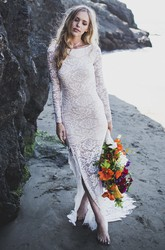 Lace Sheath Fitted Long Sleeve Bridal Gown With Front Split