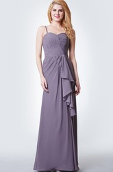 Sleeveless Draped Chiffon Gown With Ruching and Side Split