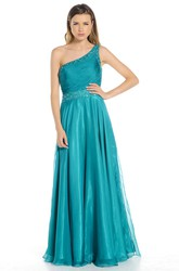 One-Shoulder Ruched Sleeveless Chiffon Prom Dress With Beading And Straps