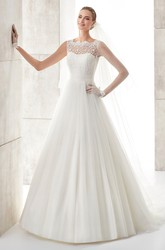 Scallop-neck A-line Wedding Dress with Cinched Waistband and Pleated Skirt