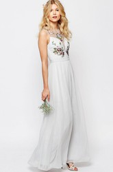 Ankle-Length Scoop Neck Sleeveless Embroidered Chiffon Bridesmaid Dress