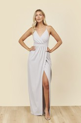 Front Split Spaghetti Straps V-neck And Ruched Details Bridesmaid Dress