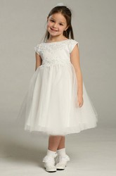Tea-Length Appliqued Cap-Sleeve Tulle&Lace Flower Girl Dress