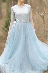 Wedding Tulle Tulle With Lace Bodice With Lace Sleeves Wedding Designers Wedding Gray Bridal Blue Bride Dress