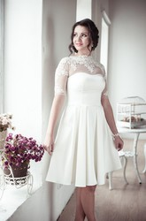 A line sweetheart criss cross midi satin wedding dress for Goodwill wedding dress sale 2017