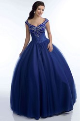 Tulle V-Neck Ball Gown With Crystal Detailed Top