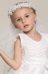 Double Layer Ruffled Lace Headpiece Tulle Flower Girl Veil
