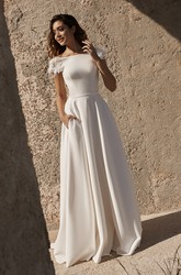 Satin Short Sleeve Deep V-back Back Bateau Wedding Dress With Flower Details And Straps
