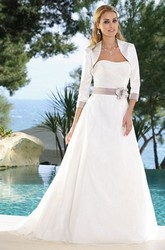 Floor-Length Strapless Floral Satin Wedding Dress With Ruching And Cape