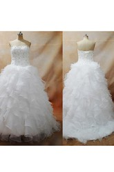 Ball Gown Strapless Organza Lace-up Corset Back Wedding Dress