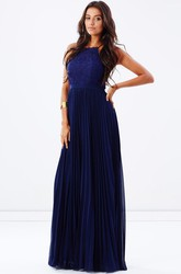 Spaghetti Pleated Sleeveless Chiffon Bridesmaid Dress With Lace And Ribbon