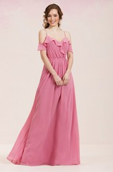 V-Neck A-Line Long Bridesmaid Dress With Ruffles And Spaghetti Straps