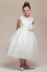 Tea-Length Bowed Empire Floral Tulle&Lace Flower Girl Dress With Ribbon