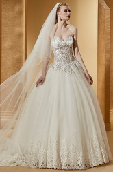 Elegant Sweetheart Ball Gown With Beaded Corset And Embroideries