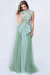 A-Line Long High Neck Cap-Sleeve Dress With Beading And Pleats