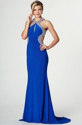 Beaded Sleeveless Strapped Jersey Prom Dress With Brush Train
