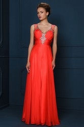 Sheath V-Neck Sleeveless Floor-Length Beaded Evening Dress With Ruching