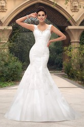 V-neck Lace Appliqued Sleeveless Mermaid Open Back Bridal Gown