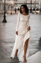 Elegant Lace Sheath Scoop Long Sleeves Low-V Back Wedding Dress