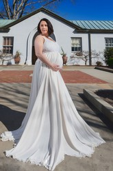 A-Line Sweep Brush Train Sleeveless Empire Maternity Wedding Dress