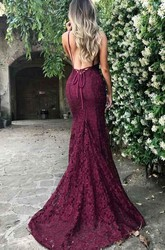 Sleeveless Sweep Brush Train Mermaid Trumpet V-neck Lace Dress